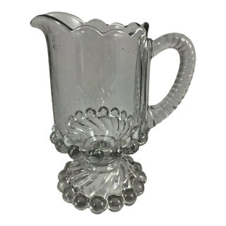 Vintage Swirl & Ball Pattern McKee Glass Scalloped Top Footed Creamer For Sale