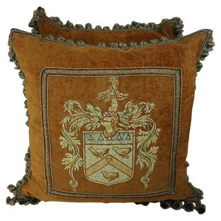 Pair of Custom Hand Painted Velvet Pillows With Crest by Melissa Levinson For Sale