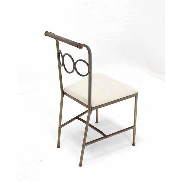 Mid-Century Modern Set of Six Rare Brass Dining Side Chairs in Style of Jean Royère For Sale - Image 3 of 8