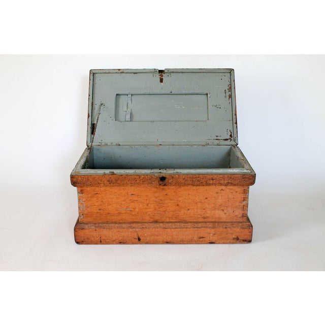 Early 20th Century Rustic Wooden Storage Trunk For Sale - Image 5 of 11