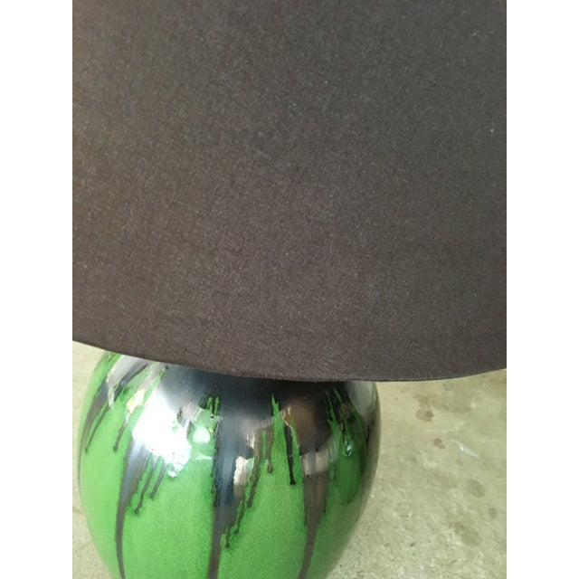 Green Flambe Pottery Lamps - a Pair - Image 4 of 4
