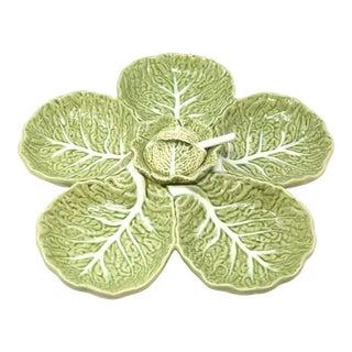 Vintage Cabbage Leaf Serving Platter With Spoon For Sale