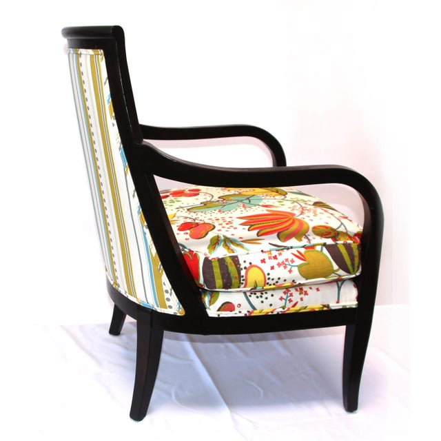 Floral Upholstered Wood Armchair - Image 3 of 3