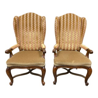 Henredon Custom Cole Fax + Fowler Wingback Chairs - a Pair For Sale