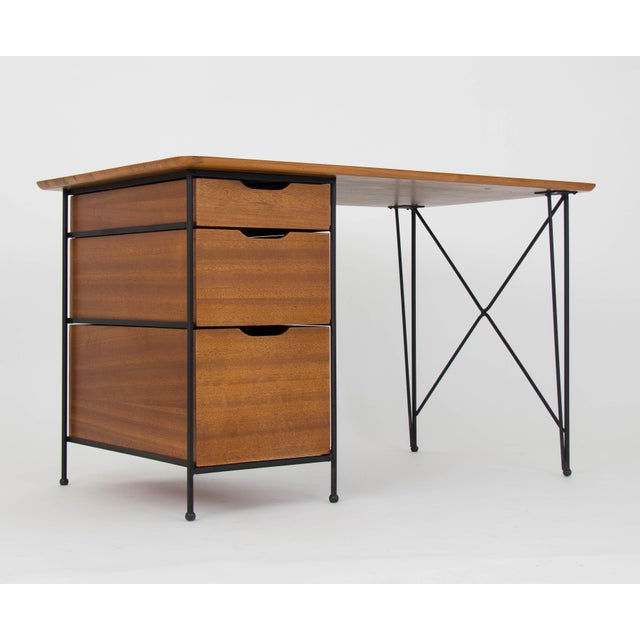 Modernist Desk in Mahogany and Enameled Steel by Vista of California - Image 5 of 9