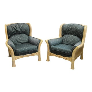 Lane Venture Pair of Twisted Rattan Lounge Chairs For Sale