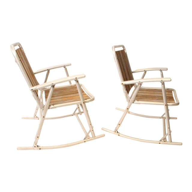 Vintage Redwood & Aluminum Folding Rocking Chairs - A Pair For Sale