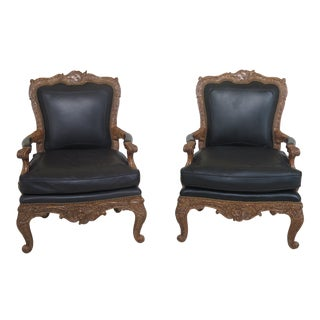 Maitland Smith Large French Style Leather Arm Chairs- A Pair For Sale