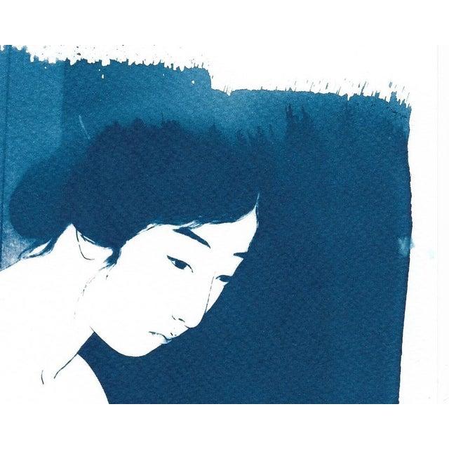 Ukiyo-e Geisha Bathing, Handmade, Cyanotype on Watercolor, Limited Serie A4 For Sale - Image 5 of 7