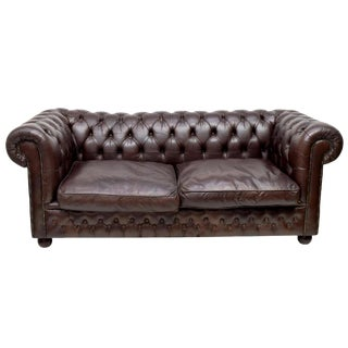 Vintage English Brown Leather Chesterfield Sofa For Sale