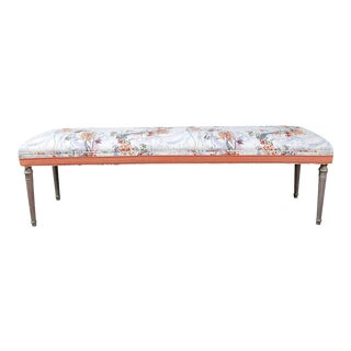 Vintage Louis XVI Bench in Ferrick Mason's Victorian Mod - Violet Coral Fabric For Sale