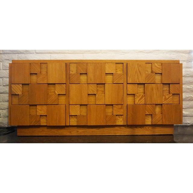 Wood Mid-Century Lane Brutalist Dresser For Sale - Image 7 of 7