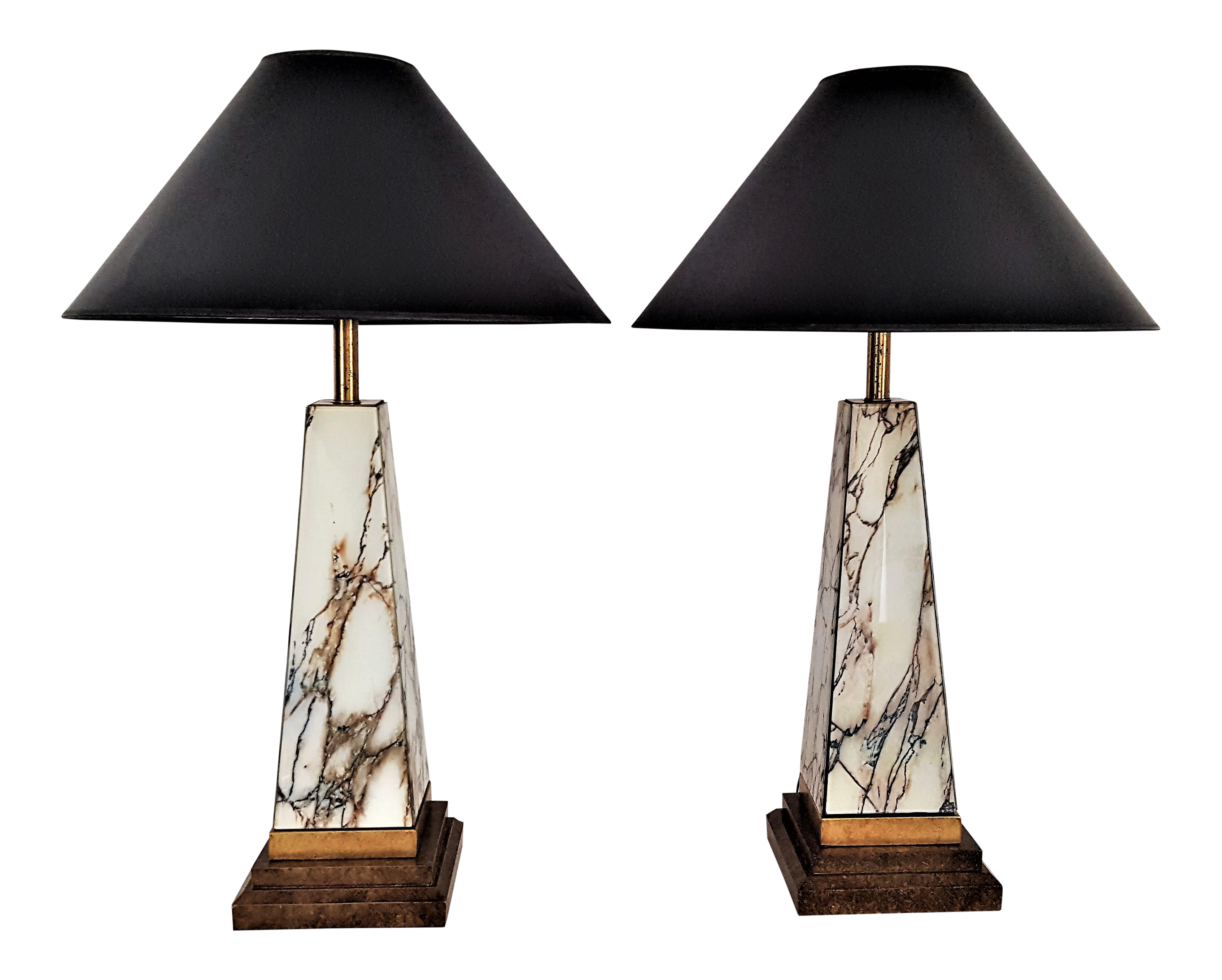 Large Art Deco Pyramidal Faux Marble Glass Table Lamps A Pair Mid Century  Modern MCM