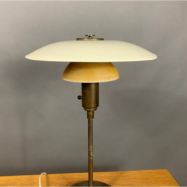 Art Deco 1930s Lyfa of Denmark Table Lamp, Glass, Brass & Lacquered Metal For Sale - Image 3 of 10
