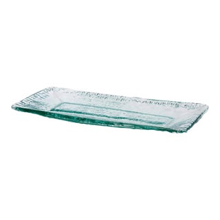 Vintage 1970s Tapio Wirkkala Style Icicle Glass Serving Platter For Sale