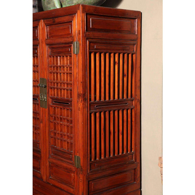 Wood Tall 19th Century Chinese Kitchen Cabinet With Fretwork Upper Doors For Sale - Image 7 of 11