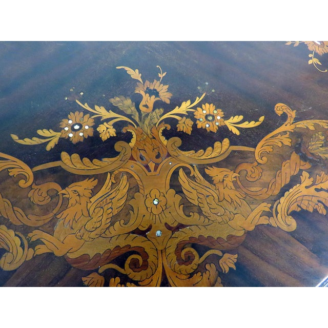 Metal Victorian Inlaid Center Table For Sale - Image 7 of 13