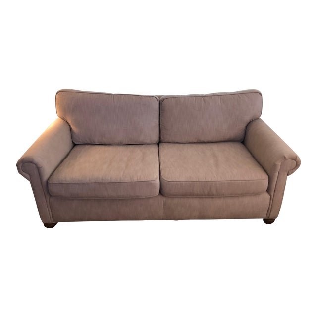 Modern Restoration Hardware Linen Upholstered Standard Sofa For Sale