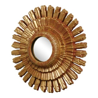 Small Gold Gilt Sunburst Mirror For Sale
