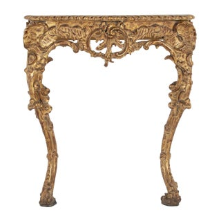 Late 19th Century Italian Rococo Gold Gilt Console For Sale