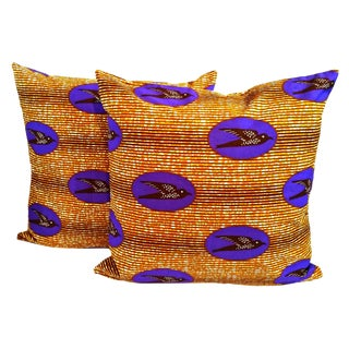 Purple Speed Bird African Print Fabric Pillow Covers - a Pair For Sale