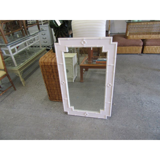 """Palm Beach Faux Bamboo Mirror. IT measures 42"""" H x 26: W X1""""D. IT is in good as found vintage condition."""