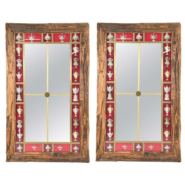 Rustic Italian Wall Mirror With Reverse Painted Classical Vases and Urns For Sale - Image 13 of 13