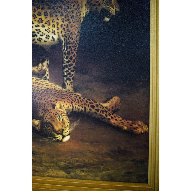 Canvas Two Leopards Lying in the Exeter Exchange by Jacques-Laurent Agasse Reproduction 47h X 37winches For Sale - Image 7 of 13