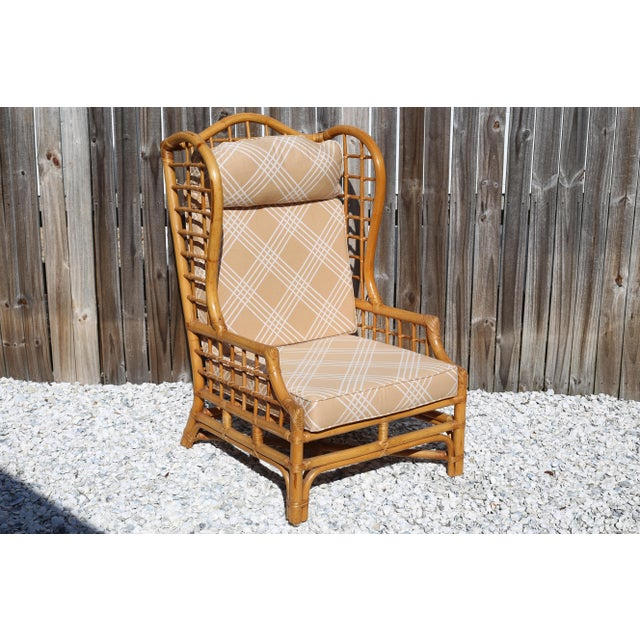 Vintage Rattan Wingback Chair Chairish
