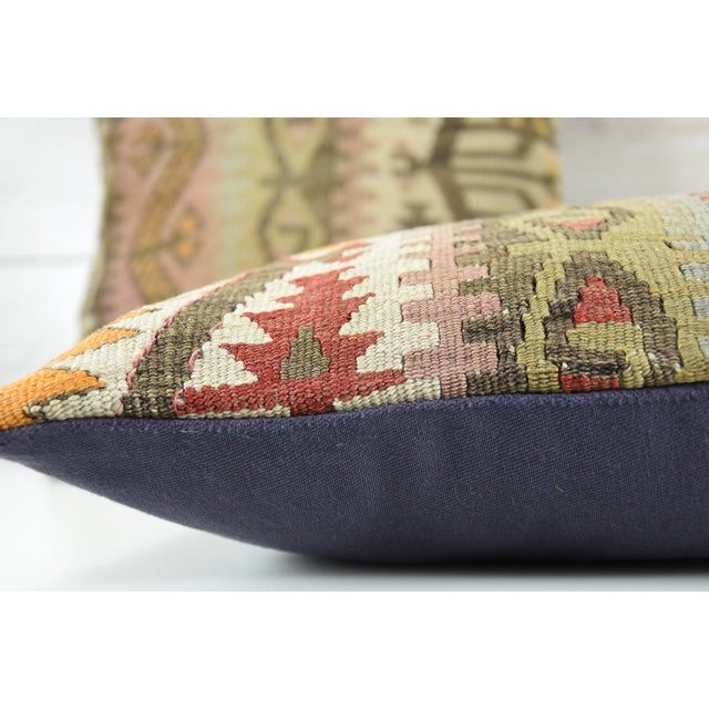 Turkish Tribal Hand-Knotted Vintage Kilim Cushion Cover - Pair - Image 5 of 5