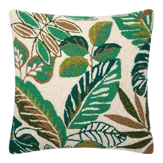 Green Leaf & Floral Outdoor Pillow For Sale
