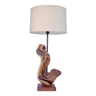 Natural Free Form Wood Lamp For Sale