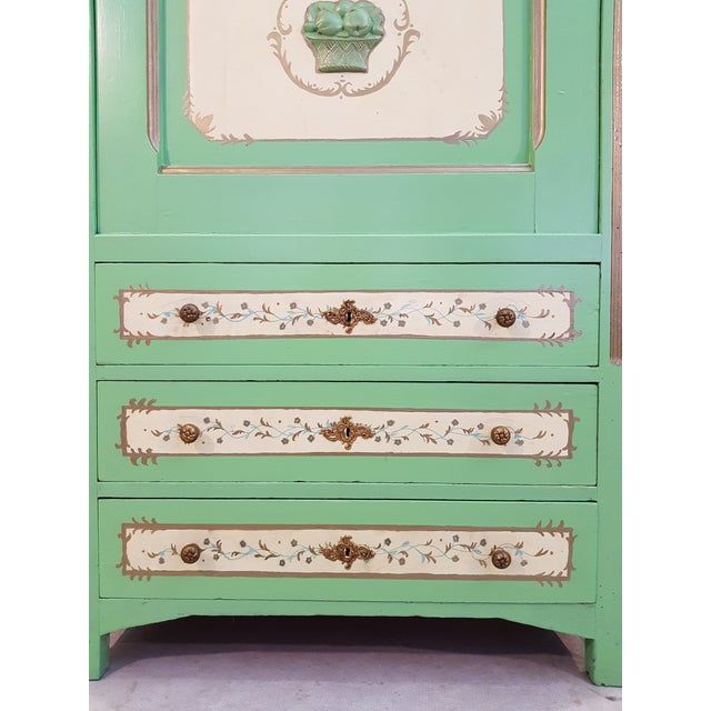 Wood French Antique Early 1920s Handpainted Gilted Imperial Style Charming Secretaire Credenza For Sale - Image 7 of 13