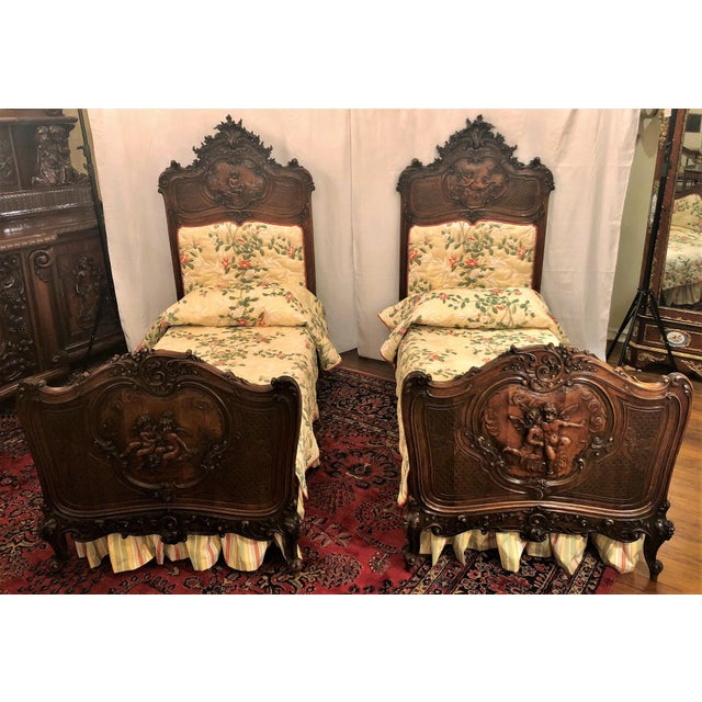 Pair Antique French Museum Quality Walnut Beds, Circa 1860-1880. One of the Finest Examples of Wood Carver's Art of the 19th Century. For Sale - Image 9 of 9