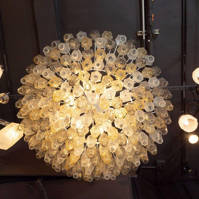Modernist Polyhedral Chandelier in Topaz, Citrine & Clear Handblown Murano Glass For Sale In New York - Image 6 of 9
