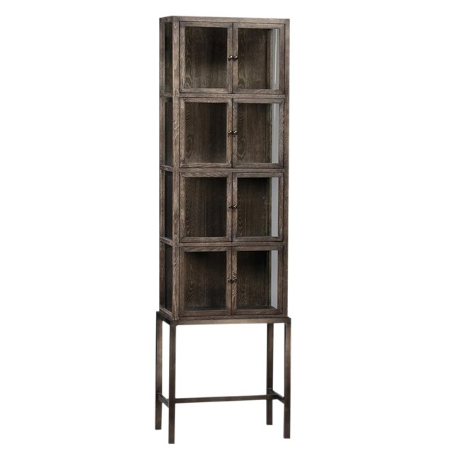 Tall Glass Storage Cabinet on Stand - Image 1 of 2