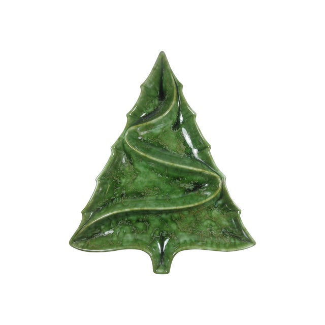 Christmas Tree Pottery Divided Dish - Image 1 of 4