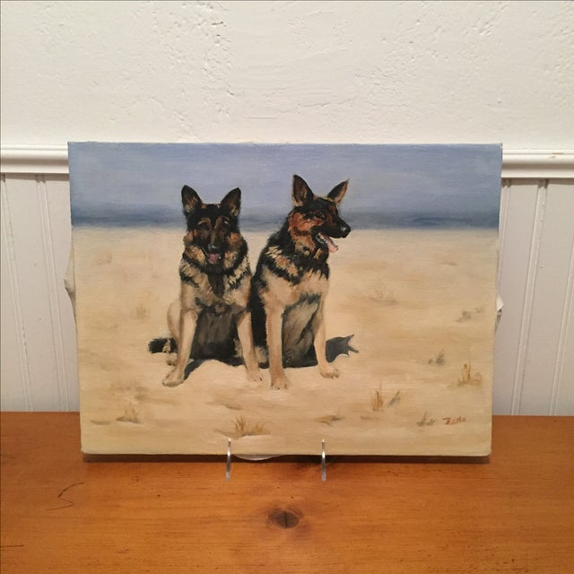 Unframed Oil Painting of Two German Shepards - Image 2 of 6