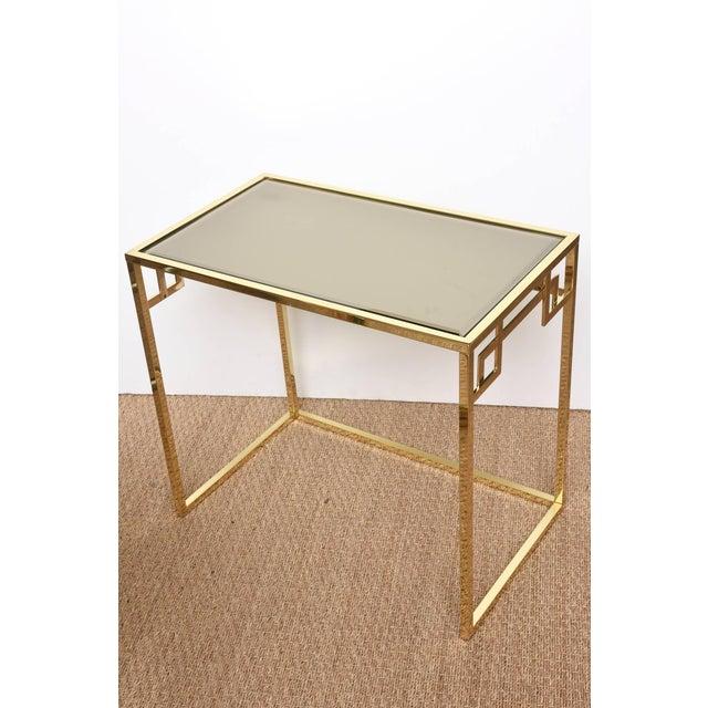 Metal Italian Brass & Glass Greek Key Nesting Tables Final Markdown For Sale - Image 7 of 11