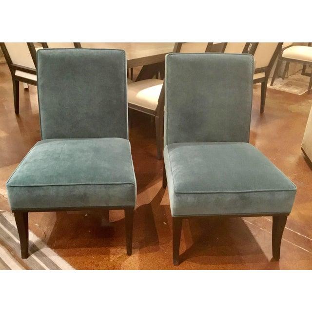 Mahogany Ambella Home Blue Velvet Gigi Slipper Chairs -a Pair For Sale - Image 7 of 8