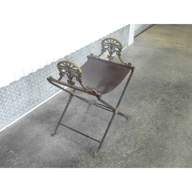 Mediterranean 1920's Oscar Bach Style Mediterranean Iron and Brass Stool For Sale - Image 3 of 8