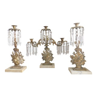 Antique Victorian Bronze Floral Girandole Candelabra Candleholder Set - Three Piece Set For Sale