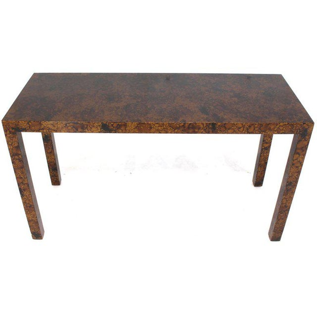 Mid Century Modern Tortoise Lacquer Finish Console Table For Sale - Image 9 of 9