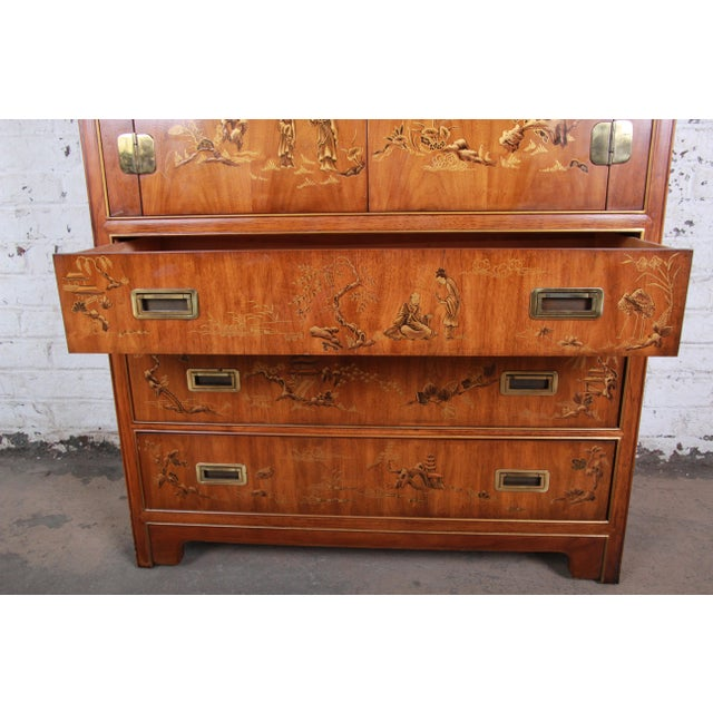 Gold Drexel Heritage Hollywood Regency Chinoiserie Armoire Dresser For Sale - Image 8 of 13