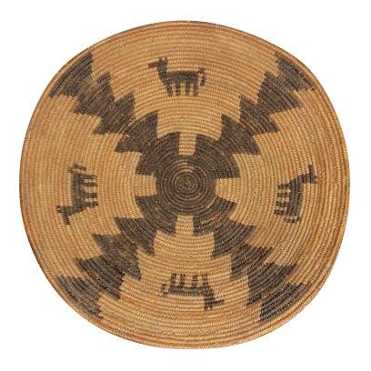 Antique Native American Apache Woven Polychrome Horses Basket Bowl For Sale