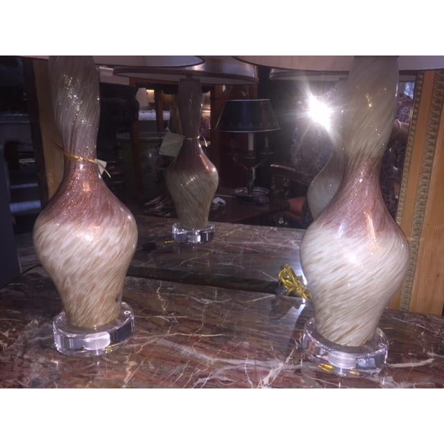 """Pair of Vintage Burgundy & White Copper Fleck Murano Lamps Shades Included 27 1/2 """" H Base 5"""" Diameter"""