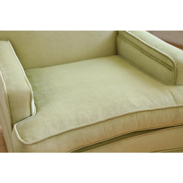 Mid-Century Modern Green Velvet Club Chairs - A Pair - Image 7 of 9