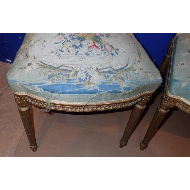 Wood Mid 19th Century Louis XVI Petit Point Embroidered Chairs- A Pair For Sale - Image 7 of 11