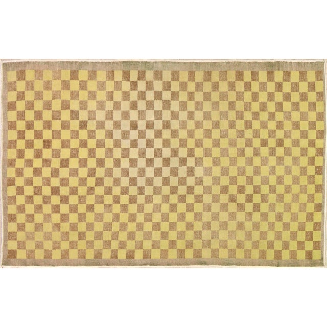 """1960s Vintage Turkish Hand Knotted Whitewash Organic Wool Fine Weave Rug,3'8""""x5'8"""" For Sale - Image 5 of 5"""