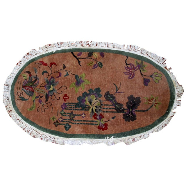 1920s Handmade Antique Oval Art Deco Chinese Rug - 3' X 4.10' - Image 3 of 7